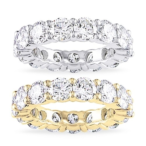 cubic in sterling silver bands gold p white cz plated band eternity wedding over zirconia floating ring round
