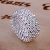 Buy online Save 91% Save 91% on a Sterling Silver Woven Mesh Ring