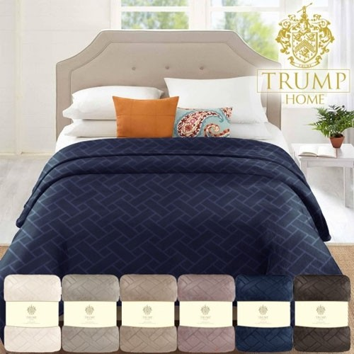 Trump Home Collection Velvet Embossed Lattice Blanket Colors