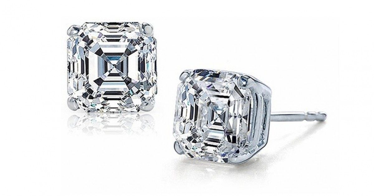 gold carat white zirconia included studs plated cut ltl diamond earrings cz com princess amazon dp cubic luvami stud square