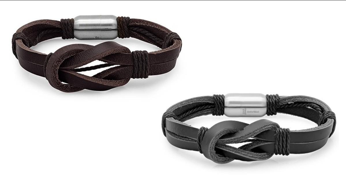 Double Loop Knot Men's Leather Bracelet - 2 Colors