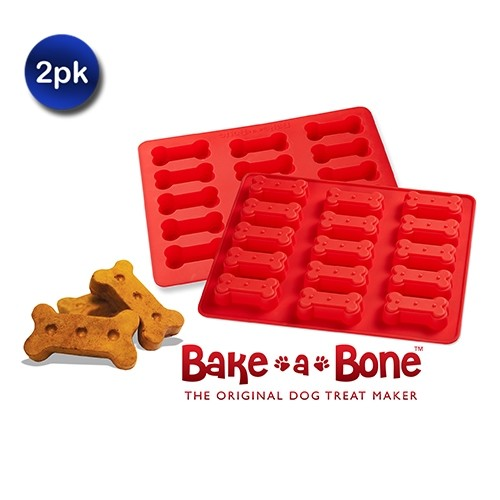 2 Pack: Bake a Bone Silicone Dog Treat Maker Tray - 2 Styles
