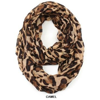 leopard print crinkle infinity scarf 4 colors available