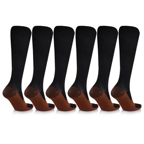 324e9d8047123 6 Pairs: Unisex Copper-Infused Knee High Compression Socks