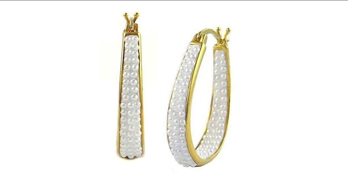 18k Gold Inside Out Pearl Hoop Earrings White