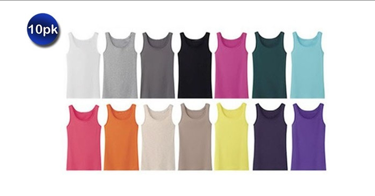 ce504ea1fb8a0 10 Pack  Women s Ribbed 100% Cotton Tank Tops - Assorted Colors