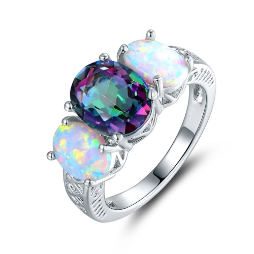 Unique Genuine Topaz and Fire Opal Ring in 18K White Gold IZ34