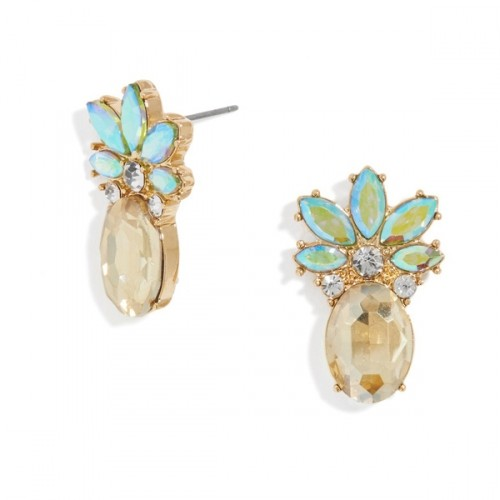de6baa620 Piña Pineapple Colorful Crystal Stud Earrings