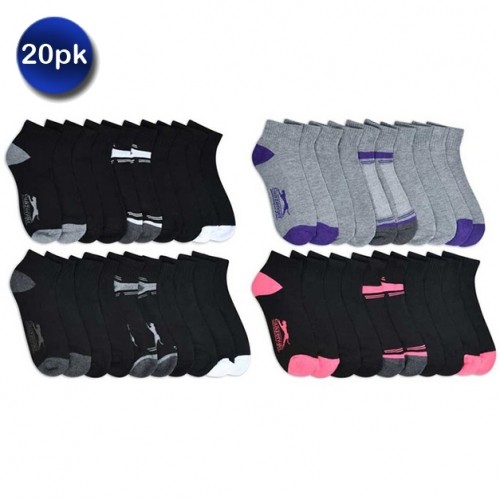 20 Pairs of Slazenger Women's Quarter-Length or No-Show Cushioned Socks