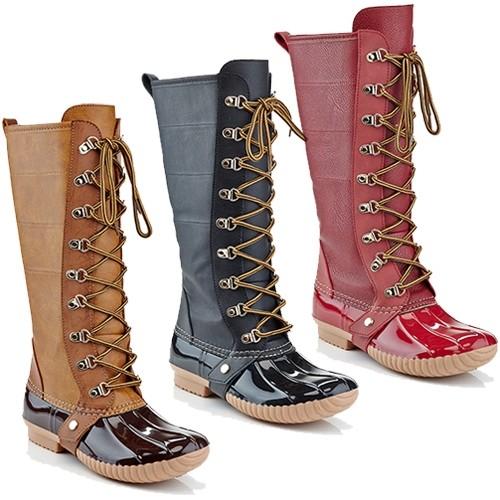 Side-Zipper Lace Up Duck Rain Boots